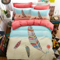 Colorful Feather Print Bohemian Style Twin Full/Queen Size ...
