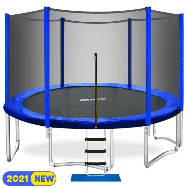 Orcc 15ft Trampoline With Enclosure Net Pad Ladder Lawn Stakes Bounce Jump