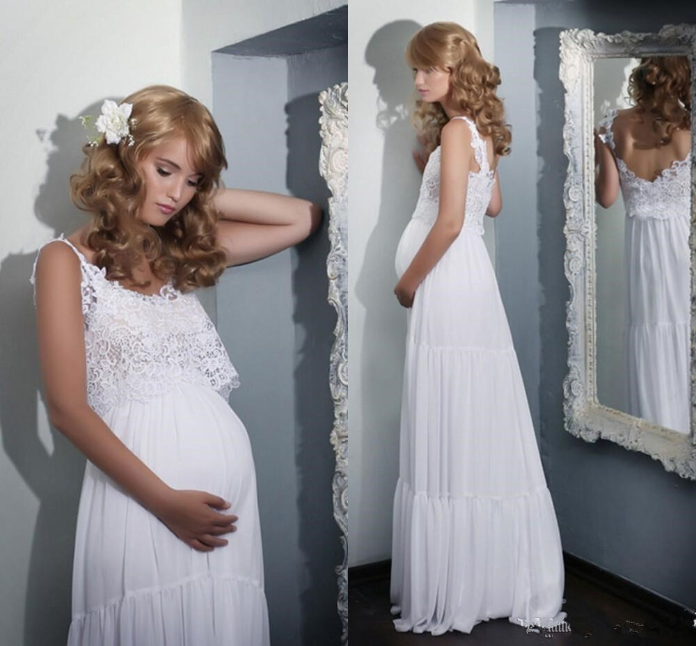 2016 Boho Lace Maternity Wedding Dresses Lace Pregnant White Bridal Gown Custom  eBay