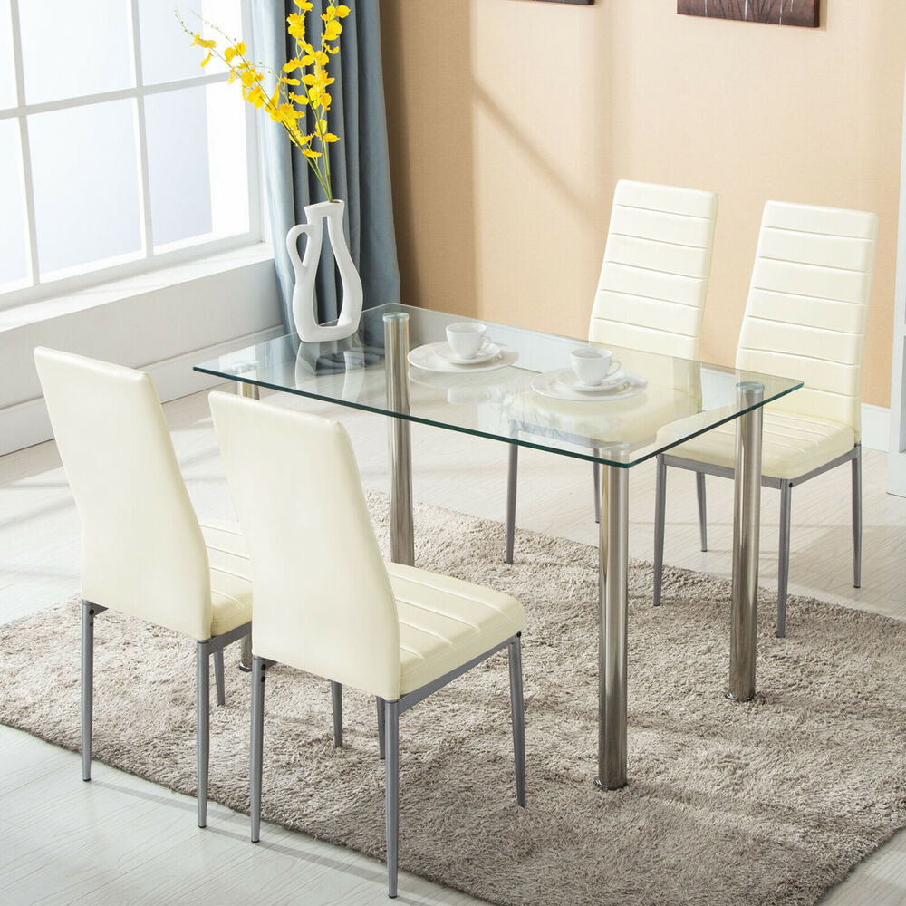 5 Piece Dining Table Set w4 Chairs Glass Metal Kitchen