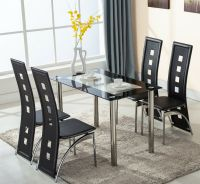 5 Piece Glass Dining Table Set 4 Leather Chairs Kitchen ...