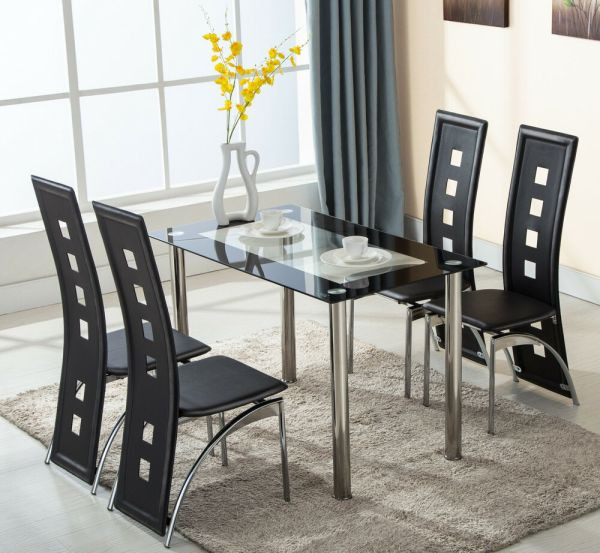 Glass Dining Room Table and Chair Set