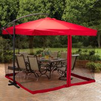 9X9' Hanging Offset Umbrella Outdoor Sun Shade w/Mesh