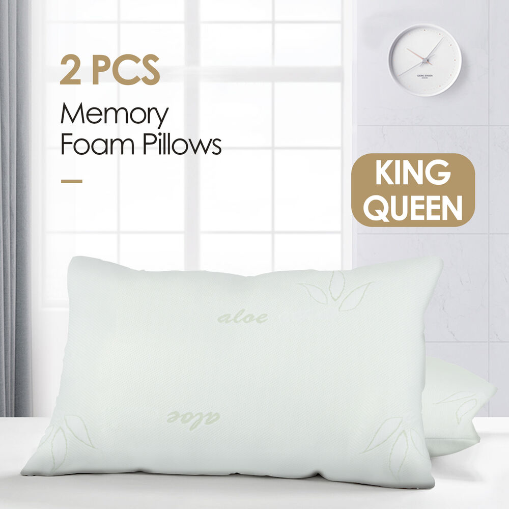 2Pcs Bamboo Memory Foam Bed Pillow QueenKing Size Hypoallergenic with Carry Bag  eBay