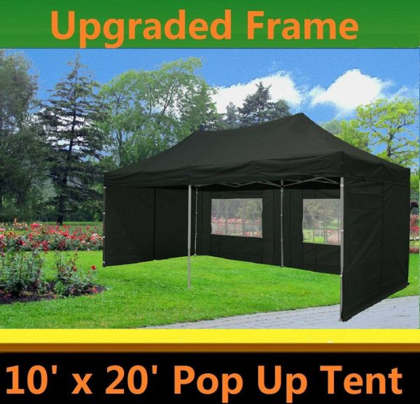 10'x20' Pop Canopy Party Tent - Black Model Upgraded Frame