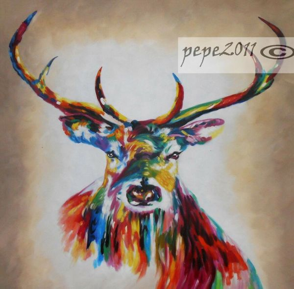 "Stag Deer Canvas 39"" X Street Art Print Graffiti Painting"