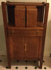 ANTIQUE OAK COCKTAIL CABINET LIQUOR BAR WITH ICEBOX | eBay