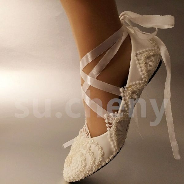 Su.cheny White Ivory Pearls Flowers Lace Ribbon Anklet