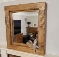 Large reclaimed Wooden Rustic Farmhouse Mirror Light oak ...