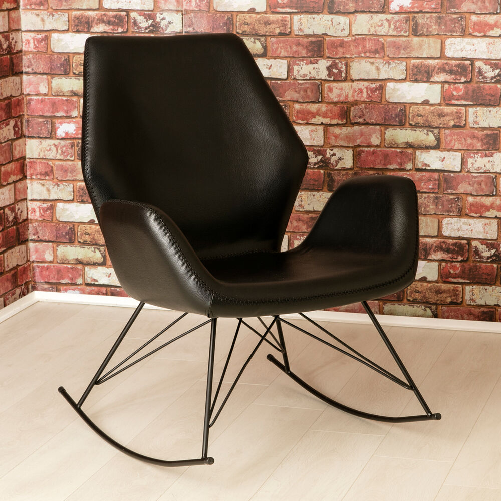 Rocking Accent Chairs Bryce Designer Leather Rocking Chair Black Modern Accent Chair Seat New 5056082700548 Ebay