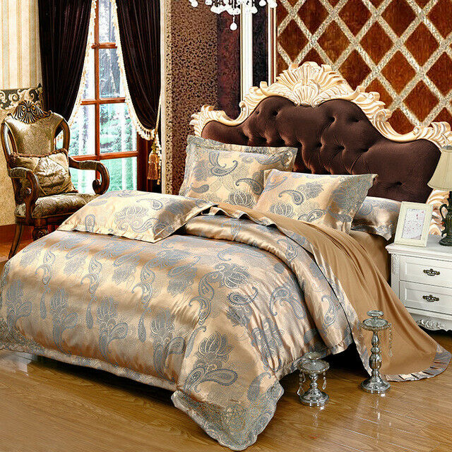 Luxury 4pc Blue Amp Tan Jacquard Queen King 100 Cotton