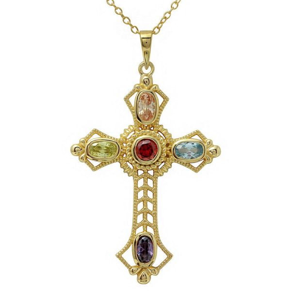 14k Yellow Gold Over 925 Sterling Silver Multi-color Cross Necklace 18''
