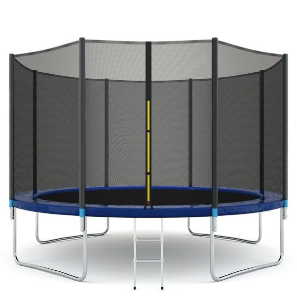 14ft Trampoline Combo Bounce Jump Safety Enclosure Net Withspring Pad Ladder