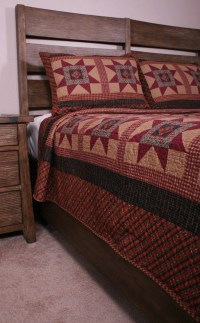 Queen Quilt Set Primitive Colonial Country Star Coverlet