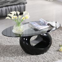Glass Oval Coffee Table Contemporary Modern Design Living ...