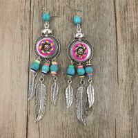 Handmade Native Ethnic Beaded Feather Dangle Earrings ...