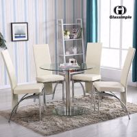 5 Piece Dining Table Set Round Glass 4 Chairs Kitchen Room ...