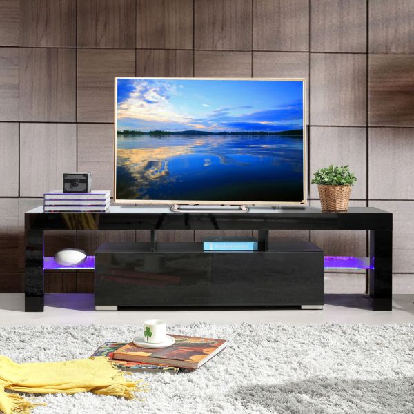 High Gloss Black Tv Stand Unit Cabinet Withled Shelves 2 Drawers Console Furniture