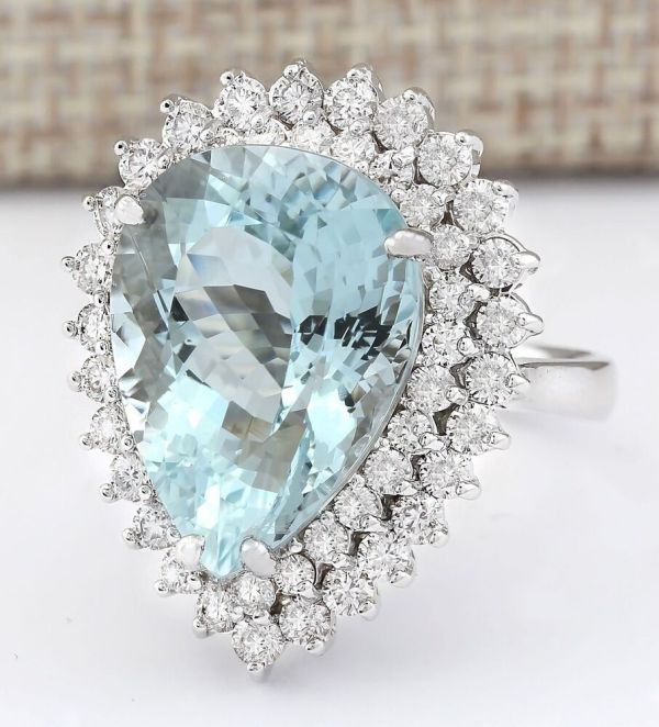 925 Sterling Silver Aquamarine Wedding Ring