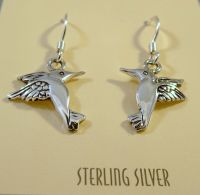 .925 Sterling Silver HUMMINGBIRD EARRINGS Dangle/Drop 925