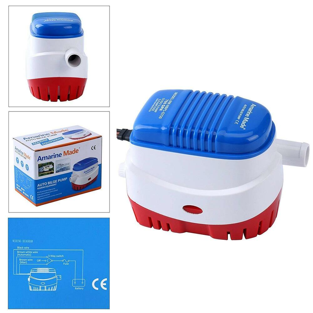 hight resolution of new 12v automatic 750gph submersible boat bilge water pump with float switch am 711221705482 ebay