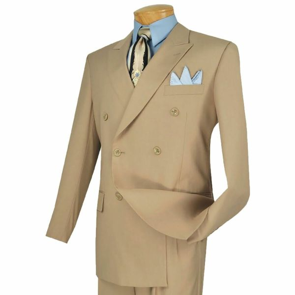 Vinci Men' Beige Double Breasted 6 Button Classic Fit Suit