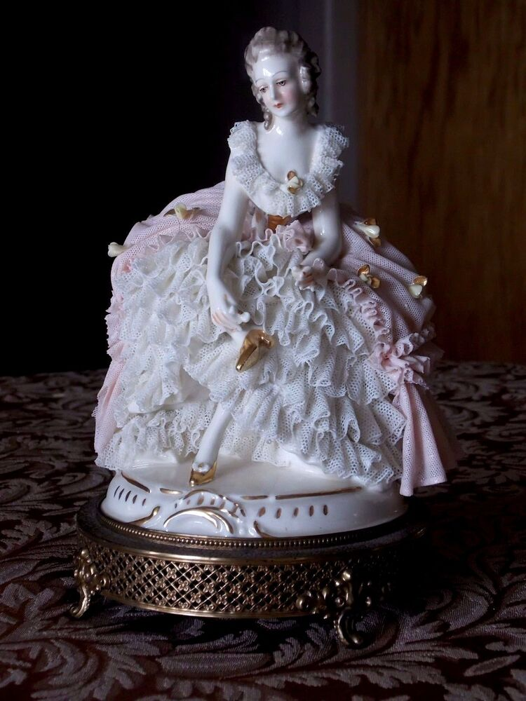 Antique Dresden Porcelain Lace Figurine Brass Base Boudoir