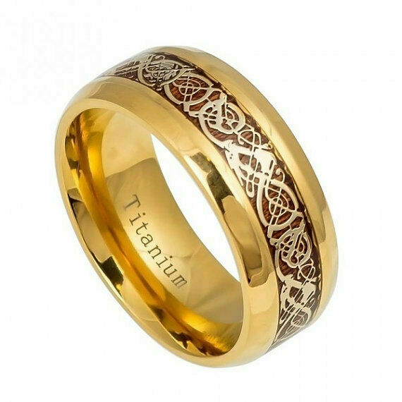 8mm Mens Gold Titanium Celtic Knot Dragon Koa Wood Inlay