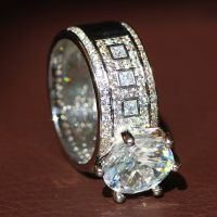 New 925 Silver Filled White Sapphire Birthstone Engagement ...