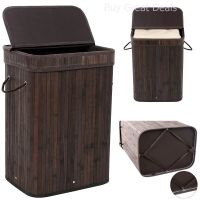 Bamboo Laundry Hamper Basket Wicker Clothes Storage Bag ...