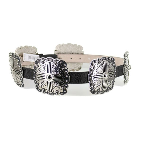 Angel Ranch Western Womens Belt Leather Floral Silver