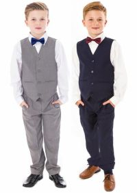 Boys Suits, Page Boy Bow Tie Suit Grey Navy Suit Wedding ...