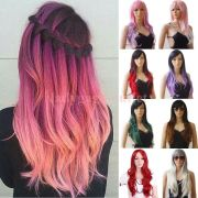 hot pastel ombre long wavy curly