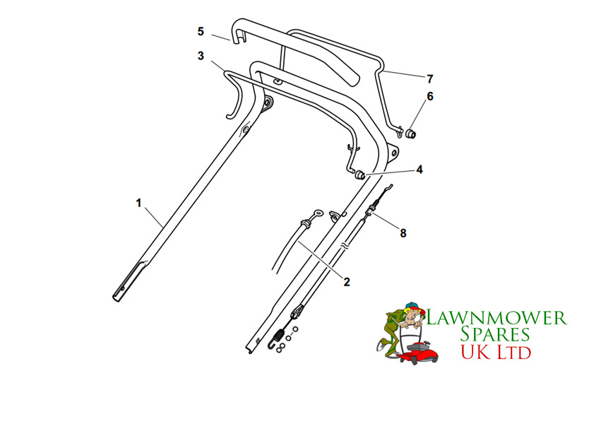 CHAMPION R484TR SP PETROL LAWNMOWER UPPER HANDLE ASSEMBLY