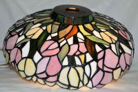 "Vintage 14"" Tiffany Style Leaded Stained Glass Lamp"