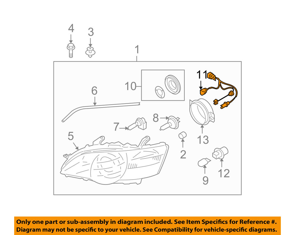 hight resolution of details about subaru oem 05 07 outback headlamp front lamps wire harness 84981ag070