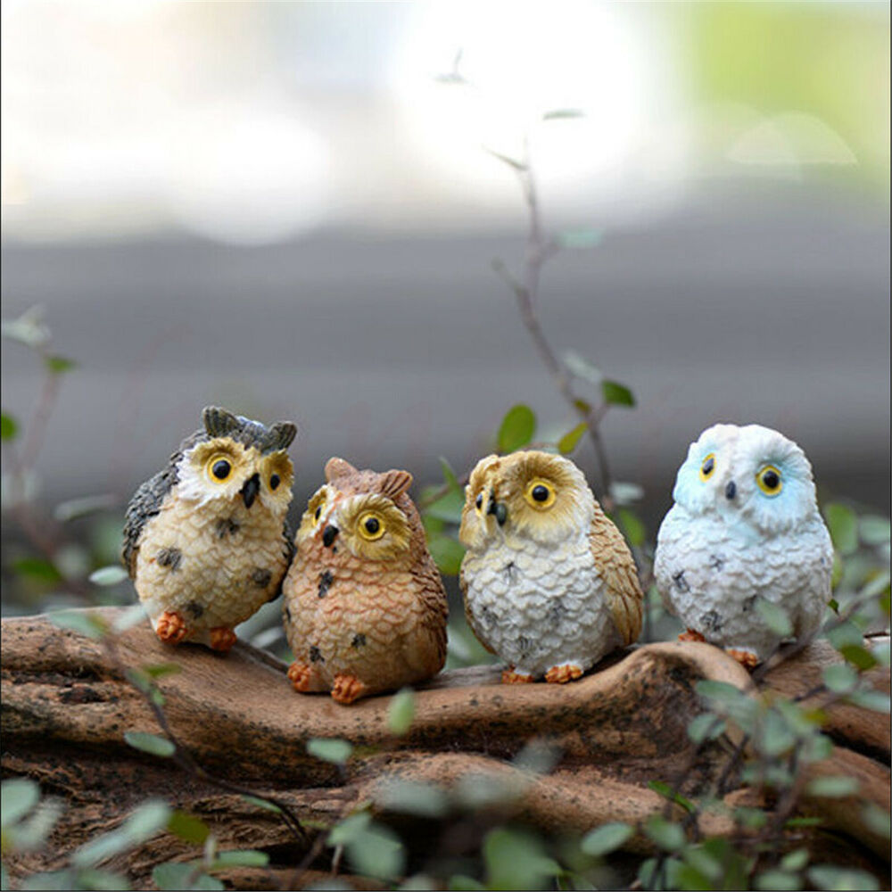 Cute Owl Decor Miniature Cute Owls Fairy Garden Terrarium Figurine Decor Diy Bonsai Craft Ebay