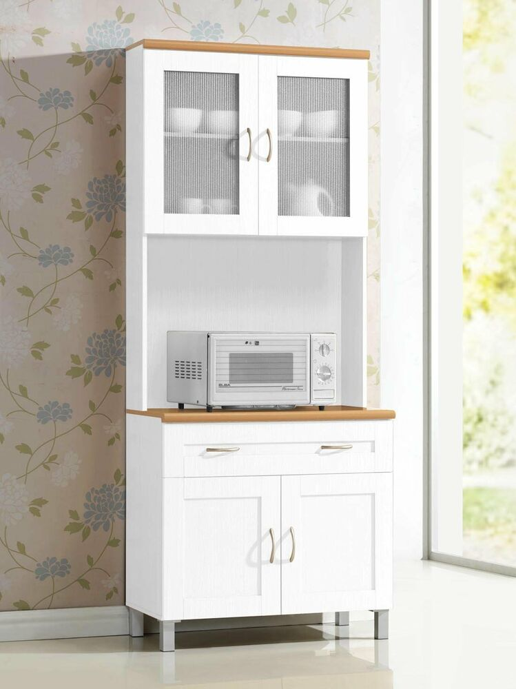 White Tall Microwave Cabinet Stand Hutch Pantry Cart Storage Cupboard Kitchen EBay