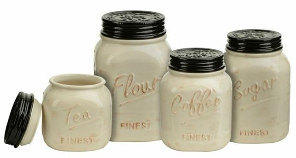 mason jar canister set kitchen Mason Jar Canister Set 4 Pc Kitchen Counter Storage