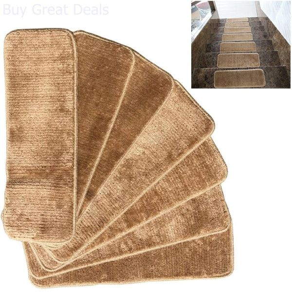 Skid Carpet Stair Treads Rubber Backing Mats Rug Set 7 Washable Camel 9x26in 849928029850