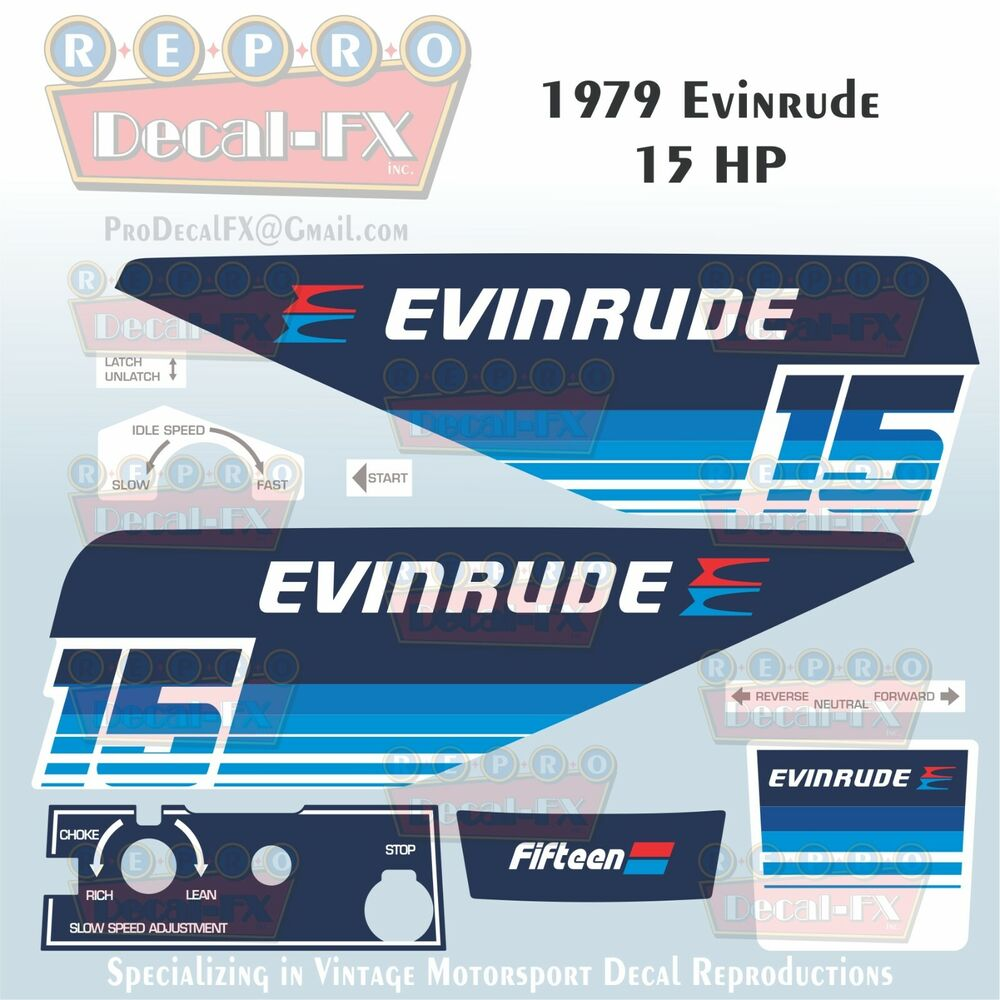 hight resolution of details about 1979 evinrude 15 hp outboard reproduction 9 piece marine vinyl decals 15904 05
