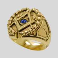 Freemason 10K Yellow Gold Sapphire Masonic Ring Size 12