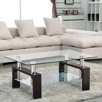 Rectangular Glass Coffee Table Shelf Chrome Walnut Wood ...