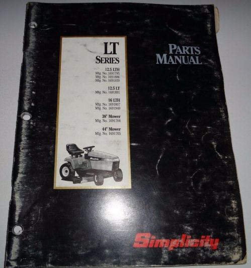 small resolution of details about simplicity lt series 12 5lth 12 5lt 16lth lawn tractor parts catalog manual book