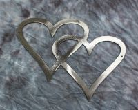 Double Hearts Metal Wall Accents Silver   eBay