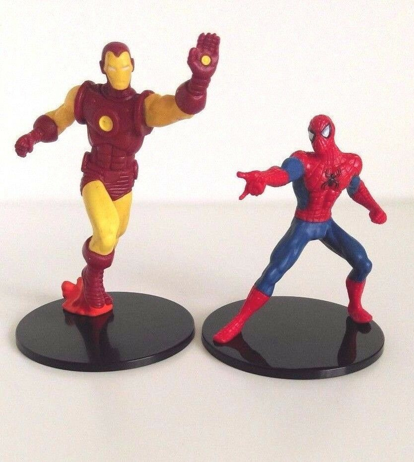 Disney Store Spider Man And Iron Man Figurine Cake Topper Toy Marvel