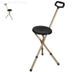 Walking Cane Chair Tufted Yellow 2 In 1 Folding Portable Travel Camp Tripod Stick New