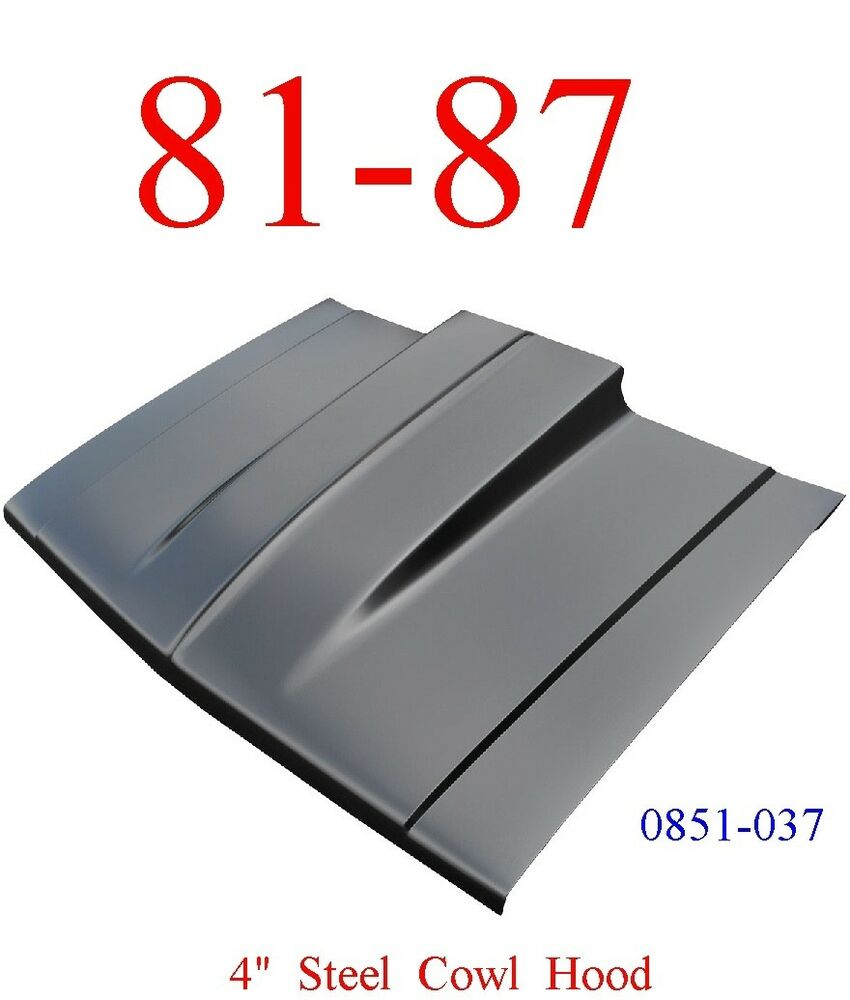 hight resolution of 81 87 cowl hood 4 chevy truck steel bolt on with latch keypart 0851 037 ebay