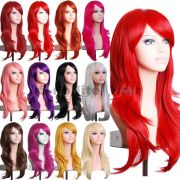 women full wig with bangs colorful