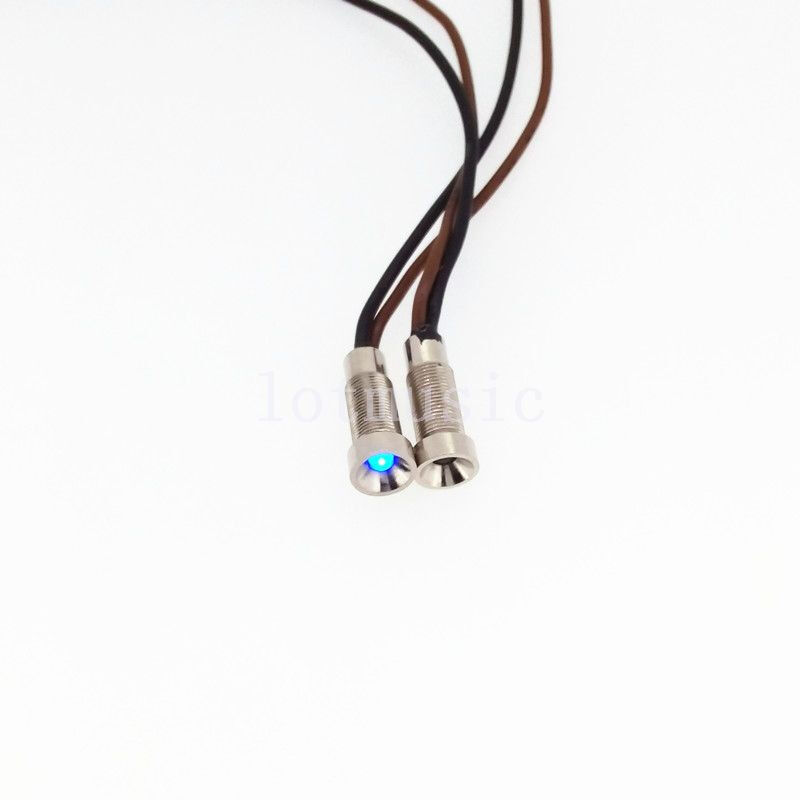 2 Pcs 6mm12V Blue waterproof LED Metal Indicator Pilot